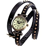 AMPM24 Vintage Black Leather Girl Lady Women Slim Wrap Around Bracelet Quartz Watch WAA274