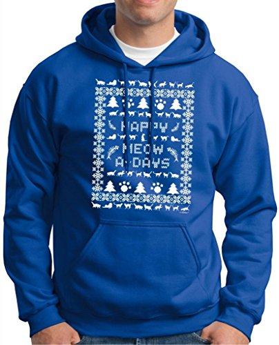 Ugly Christmas Sweater Cat Lover'S Premium Hoodie Sweatshirt Medium Royal