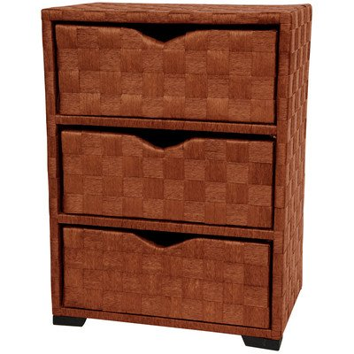 Oriental Furniture JH09-101-3-HON 25-Inch 3 Drawer Natural Fiber Wicker Style End Table Nightstand Cabinet Chest, Honey