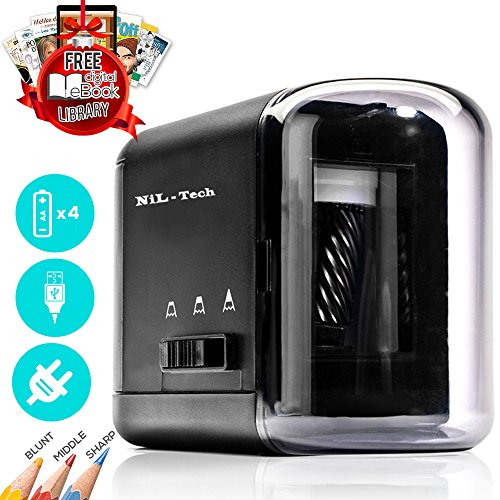 Electric Pencil Sharpener, Free Digital Drawing Library Access, Battery Operated USB and AC Powered, Heavy Duty Portable Compact . Reliable for Home Office & Classroom ,  Kids Friendly
