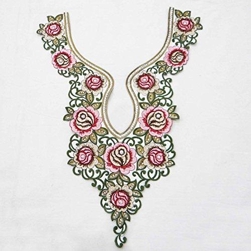 Designer Floral Embroidered White Neck Patch Pakistani Suit Dress Appliques