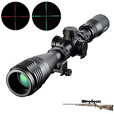 Dandelion 4-16x40 AOIR Rifle Scope Magnification Gun Sight 100 Yard with Double Profile 1inch Rings Mount by Dandelion