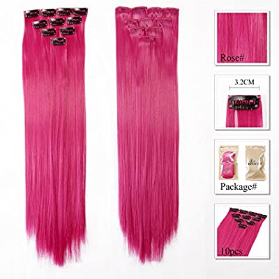 Neitsi® 10pcs 18inch Colored Highlight Synthetic Clip on in Hair Extensions #F09 Rose