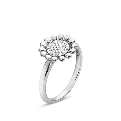 Georg Jensen Sterling Silver Diamond Set Sunflower Ring - Small