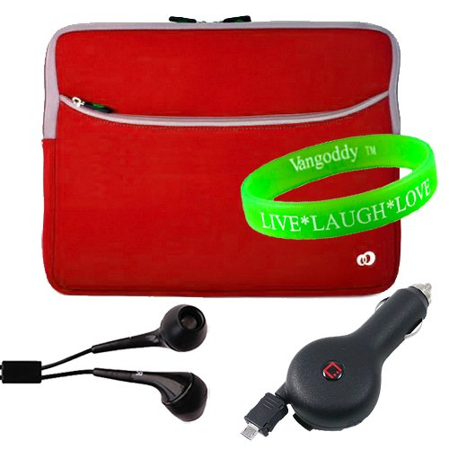 """Newly Arrived Water Resistant Red Neoprene Sleeve For Nook Carry Case For Barnes And Noble Nook Color 7 + Black Earphones + Compact Retractable Car Charger + Live * Laugh * Love Vangoddy Wrist Band!!!"""""""
