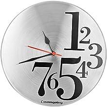 Cosmos Galaxy 1 to 7 Steel Wall Clock (Silver/Black)