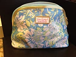 Estee Lauder Lilly Pulitzer Blue Flower Printed Makeup Cosmetics Bag