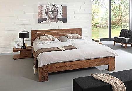 SAM® Massivholzbett Saber 6686, Bett aus stonefarbener Akazie, geölt, geteiltes Kopfteil, naturliches Design mit individueller Wuchsrichtung, 180 x 200 cm