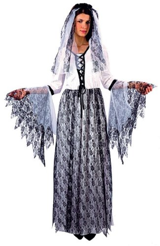 Bristol Novelty Corpse Bride Adult Fancy Dress Costume Womens One Size - White/Black