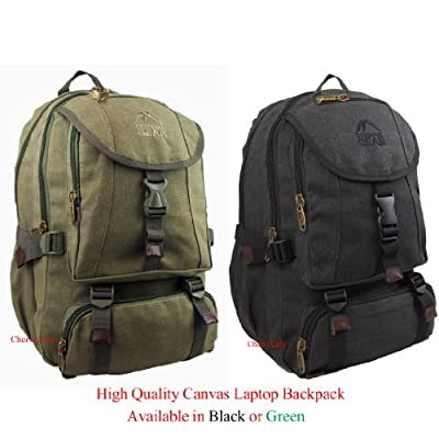 "Mens Womens 13"" 15.5"" Padded Canvas Laptop Backpack Rucksack Bag (Green/Black)"