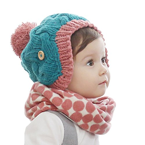 Baby Scarf Hat, Misaky Winter Boys Girls Print Collar Knitted Ring Neck Scarves (red)