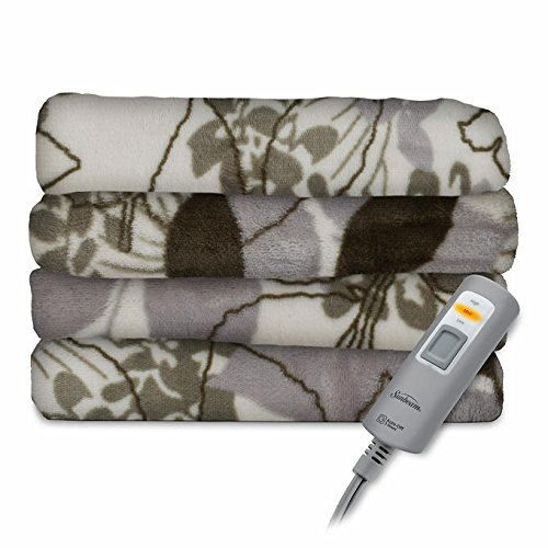 Sunbeam Electric Heated Throw Blanket Velvet Plush Washable 3 Heat Setting Auto-off Controller (Green Floral) (Sunbeam Electric Blanket Velvet compare prices)