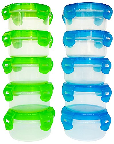 Elacra Baby Food Storage Containers BPA-Free Freezer Safe Microwavable Airtight Small Container Set, 10 Pack, 3.4oz (Storage Baby Food compare prices)