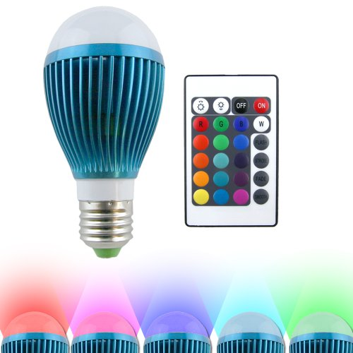 Hitlights Bluemoon Multicolor Rgb 9 Watt A19/E26 Led Bulb - 20 Year Lifespan, Includes Remote With Memory Function, Fits Standard Light Bulb Socket - 16 Colors, 120V Ac (Great For Christmas Decoration)