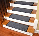 Dean Modern DIY Peel and Stick Bullnose Wraparound Non-Skid Carpet Stair Treads - Silvered Sky 30