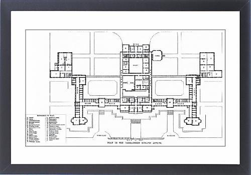 Framed Print Of Ground Plan, Carmarthen County Lunatic Asylum, Wales