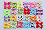 Yagopet 60pcs/30pairs New Dog Hair Bows Topknot Small Bowknot with Rubber Bands Top Quality Pet Grooming Products Mix Colors Varies Patterns Pet Hair Bows Dog Hair Accessories