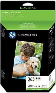 HP 363 Photo Value Pack mit 6 Druckerpatronen und Fotopapier 10 x 15 cm/150 Blatt, Q7966EE