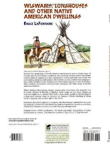 wigwams longhouses and other native american dwellings dover history coloring book