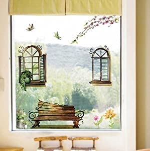 OneHouse Chair and Windows Flowers Removable Room Art Mural Vinyl Wall Sticker Decals from OneHouse