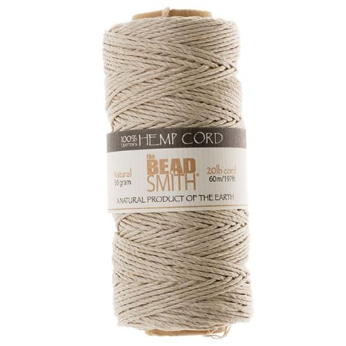 Beadaholique Natural Hemp Twine Bead Cord, 60m