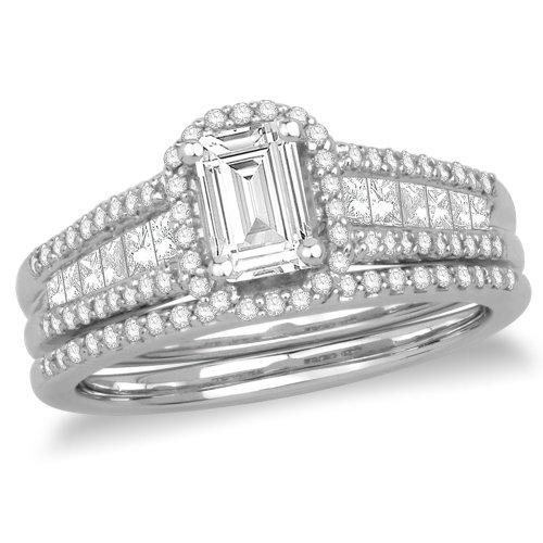 Wedding Engagement Rings 14k White Gold Emerald Cut Diamond Bridal