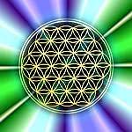 Blume des Lebens - Energiebild, Magnet, violett-türkis - Motiv 4