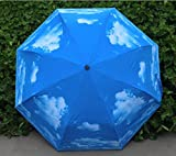 BATTOP Excellent Anti-UV Women and Men Folding Blue Sky Clouds Umbrella great for Sunny and Rainy day (style 1)