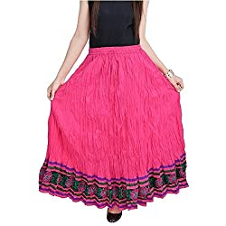 SHREEMANGALAMMART Fashionable n Ethnic Pink Cotton Long Skirt(Magenta)(SMSKT523)