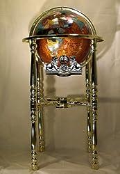 "37"" 4-Leg Gold Floor Stand Amberlite Pearl Swirl Ocean Gemstone Globe"