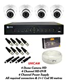 Unicam UC-4D0B-HD 4CH Dvr, 4 HD Dome Cameras (With Accessories)