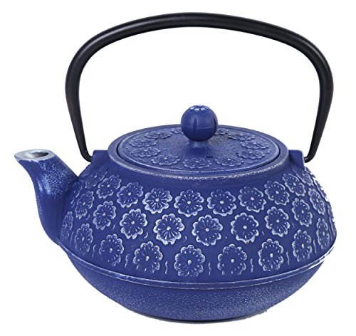 2016 Edition Blue Floral Cast Iron Teapot Kettle with Stainless Steel Infuser 34oz by Juvale (Green Floral Tea Kettle compare prices)