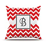 Kess InHouse KESS Original Monogram Chevron Red Letter B Outdoor Throw Pillow, 18 by 18-Inch
