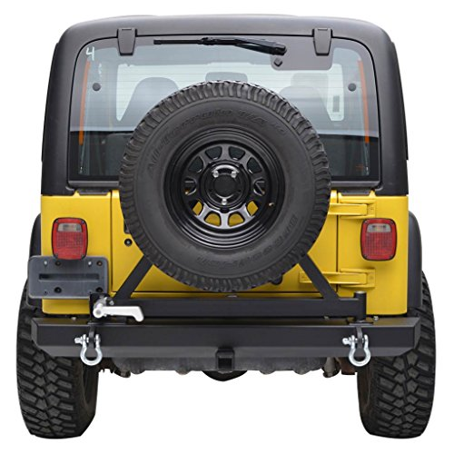 Jeep Wrangler TJ YJ Black Textured E-Autogrilles Rear Bumper with Tire Carrier