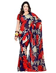 Admyrin Navy Blue Printed Saree With Red Blouse