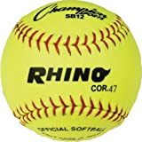 Champion Sports Optic Yellow Syntex Cover Softballs, 12-Inch, Pack Of 12, 12-Inch/