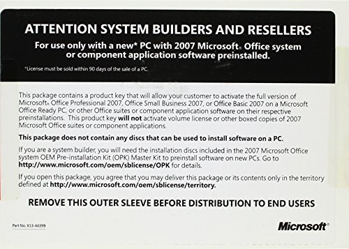 Microsoft Office Pro 2007 W32 for System Builders, 3 pack [Old Version] (Microsoft Office 3 Pack compare prices)