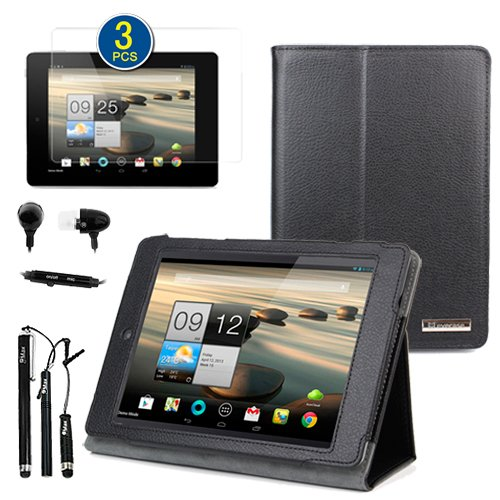 BIRUGEAR Classic Leather Folio Stand Case with Screen Protector, Headset & Stylus for Acer Iconia A1-810 - 7.9 inch Android Tablet PC Wifi 3G