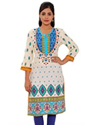 MSONS Womens Cream Base With Firozi Yoke Multi Printed Long Rayon Kurti
