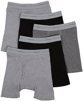 Boys Boxer Brief,5 Pack, L-Black/Grey