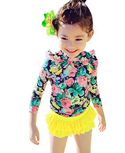 Baby Girls Three Pieces Floral Sun Protection Swimsuit Bikini Set (2-3T, Yellow) (Toddler Sun Protection Swimwear compare prices)