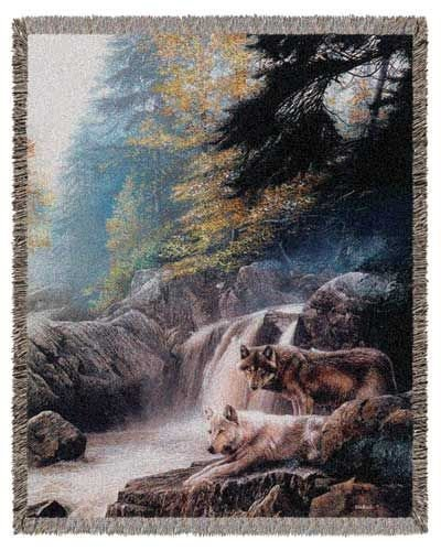"Lonely Virgil Wolves Wolf Tapestry Throw Blanket 50"" X 60"" Usa Made front-963616"