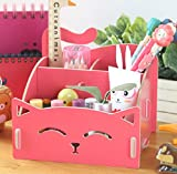 DIY Exquiste Artwork Folding Collection Pen Organizer Desk Sorter Room Dec Pink