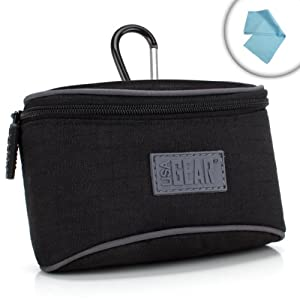 USA Gear S3 Fujifilm Compact Camera Pouch Case with Impact-Resistant Protective Nylon for FinePix F900EXR , XP60 , T500 , XF1 , XP50 and More Fuji Digital Cameras! *Bonus Cleaning Cloths*