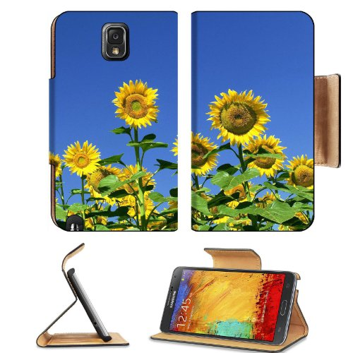 Sunflower Fields Clear Sky Blue Nature Beauty Tall Green Samsung Galaxy Note 3 N9000 Flip Case Stand Magnetic Cover Open Ports Customized Made To Order Support Ready Premium Deluxe Pu Leather 5 15/16 Inch (150Mm) X 3 1/2 Inch (89Mm) X 9/16 Inch (14Mm) Lii