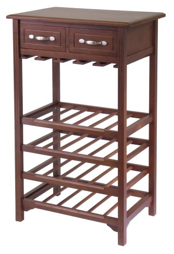 Winsome Wood Wine Rack with 2 Drawers, Antique Walnut