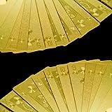 "Exklusives goldenes Poker Kartenspiel in exquisiter ma�geschneiderter Holzkiste mit Klappdeckel, Spielkarten, 100% Plastik (PVC, Kunststoff) Pokerkarten - griffig - mit Goldfolie �berzogen; Gold, Pokerspiel mit Goldfolie �berzogen in edler Holzbox ideal f�r Poker, Skat, Whist, Bridge, Mau-Mau, Seven Card Stud, Five Card Stud, Texas Hold'em, Omaha Hold'em, Draw Poker, Black Jackvon ""StilGut"""