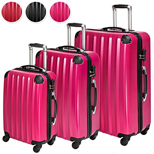 TecTake Policarbonato trolley valigia valigie set rigido borsa - disponibile in diversi colori - (Rosa (No. 401447))