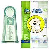 Baby Buddy Wipe-N-Brush & 30 Wipes-Innovative 6-Stage Oral Care System Grows With Your Child-Stage 3 for Babies/Toddlers-Kids Love Them Green