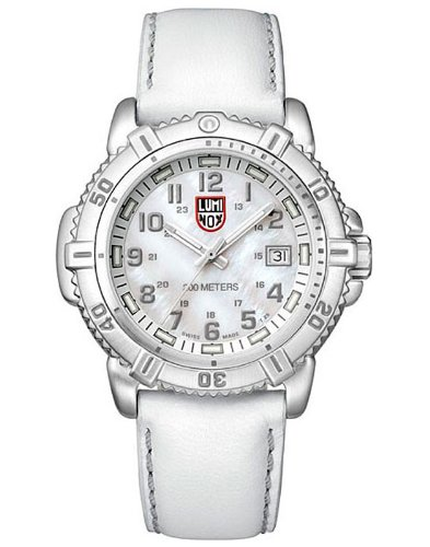 Luminox 7257 Women's Colormark White Leather Strap Dive Watch